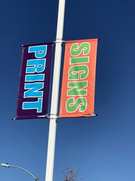 Colorful Light Pole Banner at Allegra, Image 360, Corona, CA
