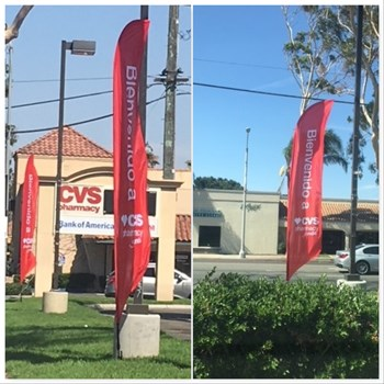 Red Flutter Flags for CVS, Corona, CA