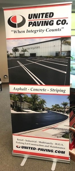 Pull up retractable banner for United Paving Co, Corona, CA