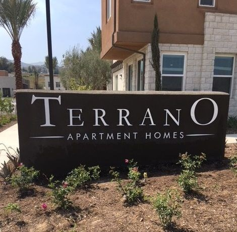 Customized monument sign for Terrano Apartment homes, Dos Lagos, Corona, CA