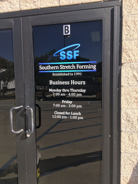 Window decal for Southern Stretch Forming